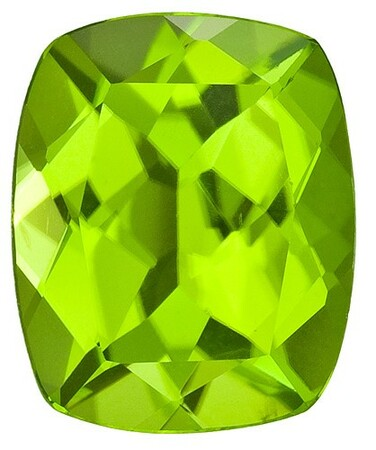 Faceted Vibrant Peridot Gemstone, Cushion Cut, 3.85 carats, 11 x 9 mm , AfricaGems Certified - A Low Price