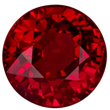 Faceted Fiery Ruby Gemstone, Round Cut, 1.55 carats, 6.37 x 6.44 x 4.36 mm , GIA Certified - A Deal