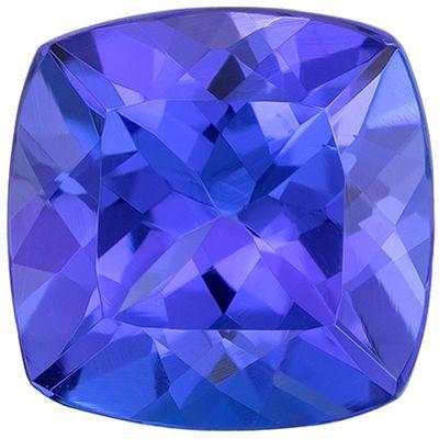 Faceted Tanzanite Gem in Cushion Cut, 7.5 mm in Gorgeous Vivid Blue Purple, 2 carats