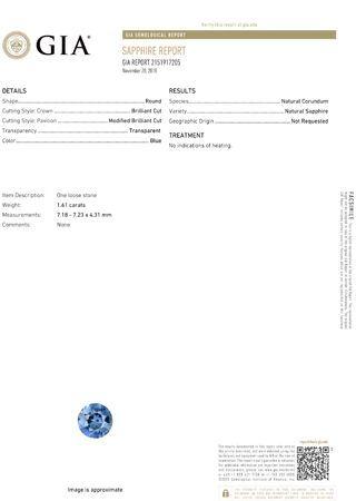Fiery 1.61 carat Blue Sapphire GIA Certified Gemstone in Round Cut 7.18 x 7.23 x 4.31 mm
