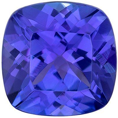 Fiery Genuine Tanzanite Gem in Cushion Cut, 6.5 mm in Gorgeous Vivid Blue Purple, 1.5 carats