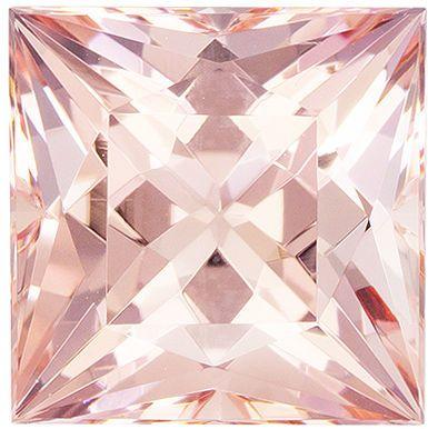Fiery Stunning 5.31 carats Morganite Genuine Gemstone in Princess Cut, Pure Peach, 10.2 mm