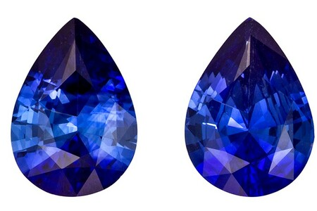 Fine Natural 1.4 carats Sapphire Genuine Gemstone Pair in Pear Cut, Rich Blue, 7 x 5 mm