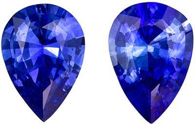 Fine Natural 7 x 5 mm Sapphire Loose Gemstone Pair in Pear Cut, Medium Blue, 1.34 carats
