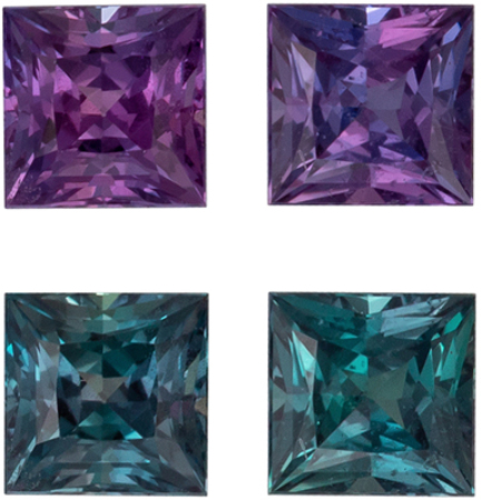 Fine Quality Alexandrite Well Matched Gemstone Pair in Princess Cut, Teal Blue to Burgundy Magenta, 3 mm, 0.4 carats