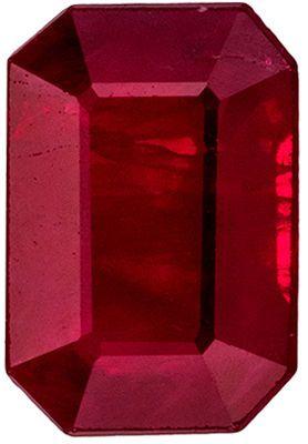 Fine Quality Genuine Ruby Genuine Gemstone, Emerald Cut, Open Rich Red, 6.2 x 4.3 mm, 0.88 carats