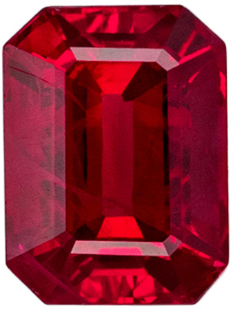 Fine Quality Genuine Ruby Loose Gem, 4.9 x 3.6 mm, Pure Rich Red, Emerald Cut, 0.56 carats