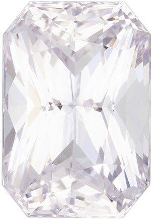 Genuine White Sapphire Emerald Cut in Grade AAA