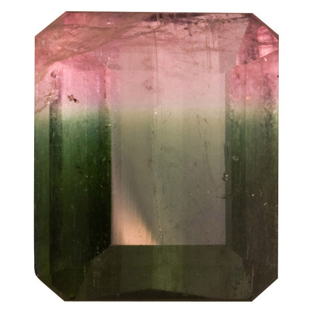 Genuine Bi Color Tourmaline Gemstone in Octagon Cut, 10.27 carats, 13.99 x 12.16 mm Displays Pure Green-Pink Color