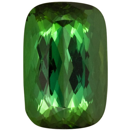 Genuine Green Tourmaline Gemstone in Antique Cushion Cut, 18.51 carats, 17.04 x 12.18 mm Displays Pure Green Color