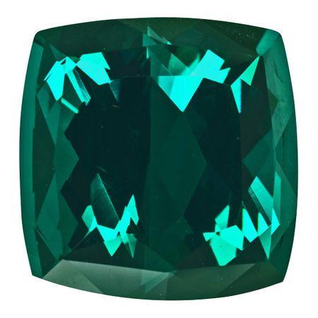 Genuine Blue Green Tourmaline Gemstone in Antique Cushion Cut, 36.85 carats, 19.80 mm Displays Vivid Blue-Green Color