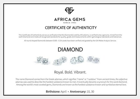 Genuine Diamonds in F+ Color VS Clarity