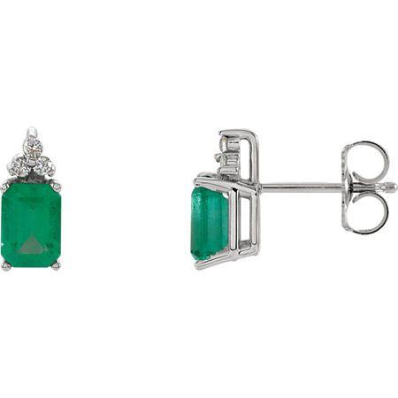 Genuine Emerald Earrings in Emerald & Diamond Earrings