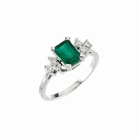 Stunning Genuine Emerald & Diamond Ring