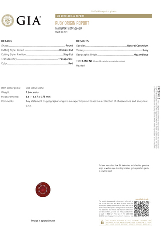 Fine Gem GIA Certified Genuine Loose Ruby Gemstone in Round Cut, 6.61 x 6.67 x 4.75 mm, Vivid Open Red, 1.64 carats