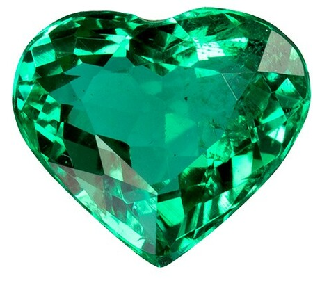 Genuine Vibrant Emerald Gemstone, Heart Cut, 1.14 carats, 7.6 x 6.6 mm , AfricaGems Certified - A Low Price Top Gem