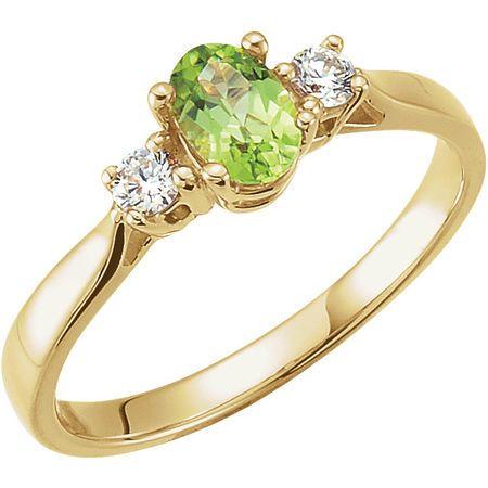 Genuine  Genuine Peridot & Diamond Ring