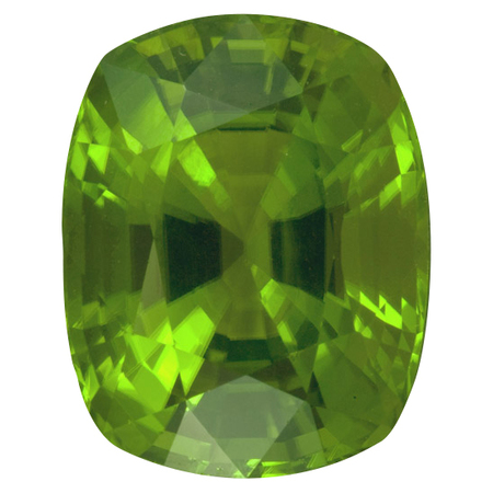 Xtra Fine Burma Peridot Gemstone in Antique Cushion Cut, 23.66 carats, 18.59 x 15.28 mm Displays Vivid Green Color