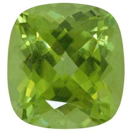 Genuine Peridot Gemstone in Antique Cushion Cut, 6.73 carats, 11.60 x 10.82 mm Displays Vivid Green Color
