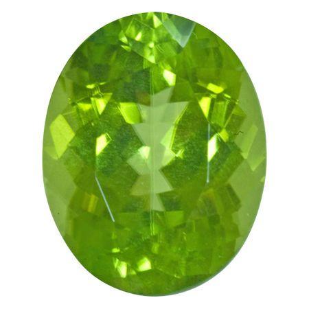 Genuine Peridot Gemstone in Oval Cut, 10.83 carats, 15.39 x 12.20 mm Displays Vivid Green Color