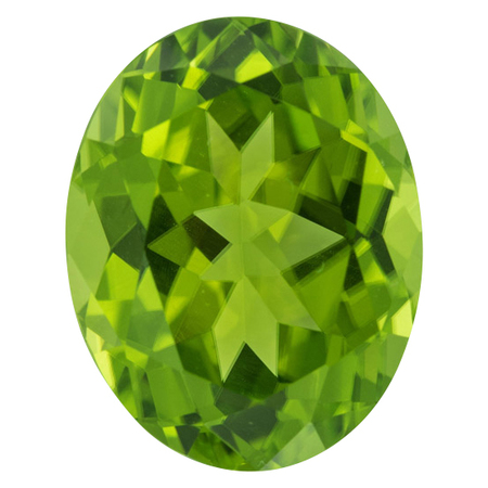 Genuine Peridot Gemstone in Oval Cut, 9.39 carats, 14.84 x 11.64 mm Displays Rich Green Color