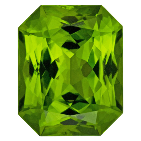 Super Gem Peridot Gemstone in Radiant Cut, 32.64 carats, 20.74 x 16.72 mm Displays Vivid Green Color