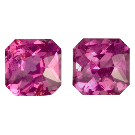 Genuine No Treatment Purple Sapphire Well Matched Gem Pair in Radiant Cut, 1.78 carats, 5.40 mm Displays Pure Purple-Pink Color
