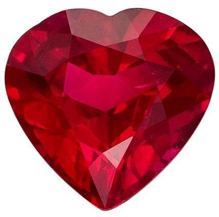 Genuine Fiery Ruby Gemstone, Heart Cut, 0.5 carats, 5 x 4.8 mm , AfricaGems Certified - A Fine Gem