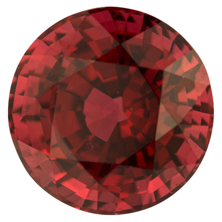 Genuine Red Spinel Gemstone in Round Cut, 2.5 carats, 7.93 x 7.86 mm Displays Rich Orangy Red Color
