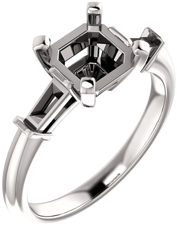 Gorgeous Asscher Gem Engagement Ring With Tapered Baguette Side Gems  For Gemstone Size 5mm to 7mm