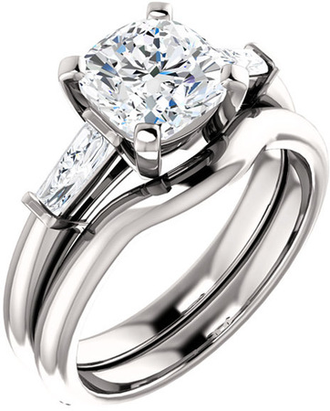 Gorgeous Cushion Gem Engagement Ring With Tapered Baguette Side Gems  For Gemstone Size 5mm to 9mm