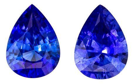 Gorgeous Stone in 1.55 carats Sapphire Genuine Gemstone Pair in Pear Cut, Intense Blue, 7.2 x 5.2 mm
