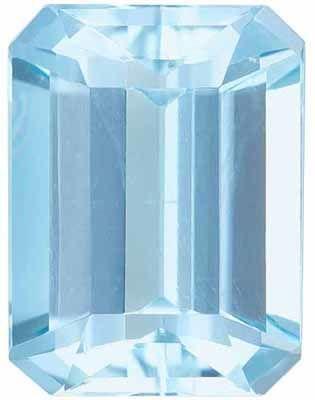 Loose Aquamarine Genuine Loose Gemstone in Emerald Cut, 1.53 carats, Rich Sky Blue, 8 x 6 mm