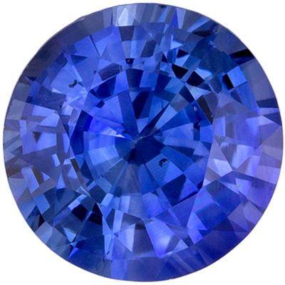 Loose Blue Sapphire Genuine Loose Gemstone in Round Cut, 1.42 carats, Medium Rich Blue, 6.9 mm