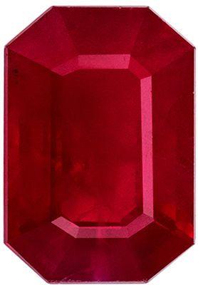 Great Ruby Loose Gem, 6.6 x 4.5 mm, Vivid Rich Red, Emerald Cut, 0.88 carats