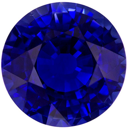 Faceted Loose 1.99 carats Sapphire Loose Gemstone in Round Cut, Intense Blue, 7.5 mm
