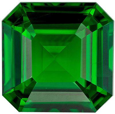 Hard to Find Genuine Loose Tsavorite Gemstone in Emerald Cut, 2.07 carats, Rich Grass Green, 7.4 x 7.4 mm