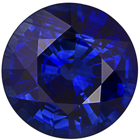 Perfect Ring Blue Sapphire Gemstone, Round Cut, Intense Rich Blue, 2.29 carats , 7.94 x 8.01 x 4.76 mm GIA Certified