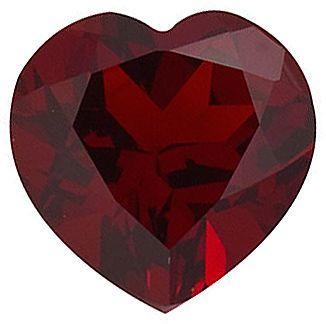 Heart Cut Genuine Red Garnet in Grade AAA