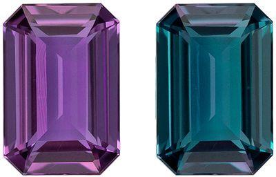 High Quality Genuine Loose Alexandrite Gemstone in Emerald Cut, 0.22 carats, Rich Teal to Burgundy Eggplant, 4.3 x 2.9 mm