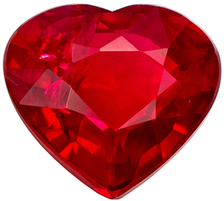 Highly Desirable Ruby Genuine Loose Gemstone in Heart Cut, 1.04 carats, Vivid Pure Red, 6.3 x 5.8 mm