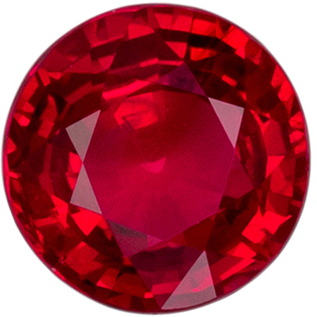 Gem Genuine Loose Ruby Gemstone in Round Cut, 6.3 mm, Open Rich Red, 1.22 carats