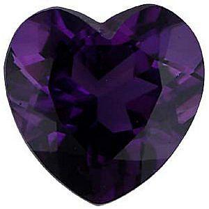 Imitation Amethyst Heart Cut Stones