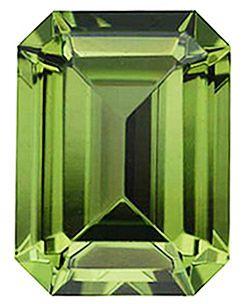 Imitation Peridot Emerald Cut Stones