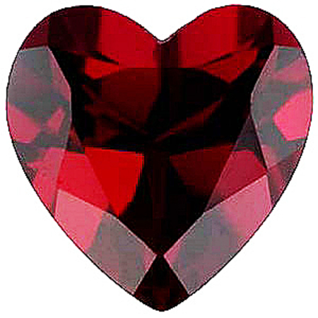 Imitation Red Garnet Heart Cut Stones
