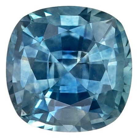 Impressive Gem  Blue Green Sapphire Genuine Gemstone, 1 carats, Cushion Shape, 5.5 mm