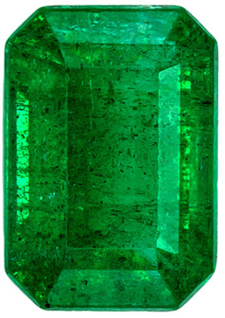 Stunning Faceted Loose Emerald Genuine Gem in Emerald Cut, Vivid Rich Green Color in 1.03 carats , 7.1 x 4.9 mm