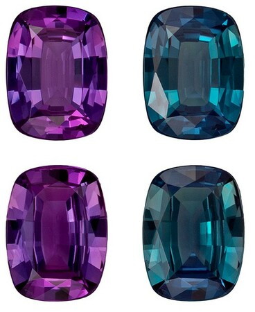 Loose Alexandrite Cushion Shaped Gemstones Matched Pair, 0.71 carats, 5.1 x 3.9mm - A Wonderful Find!