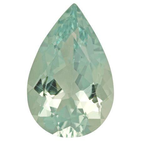 Loose Green Beryl Gemstone in Pear Cut, 6.85 carats, 17.26 x 11.28 mm Displays Pure Green-Blue Color