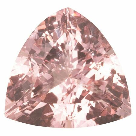 Special Morganite Gemstone in Trillion Cut, 37.05 carats, 23 mm Displays Rich Pink Color